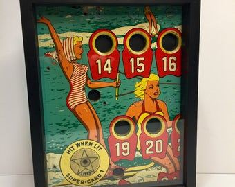 Ski Club Pinup Girl Pinball Machine Art Glass Framed
