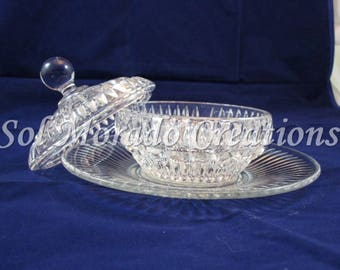 Cut crystal candy dish with plate