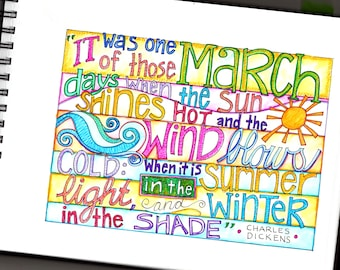 Hello March digital page and coloring page