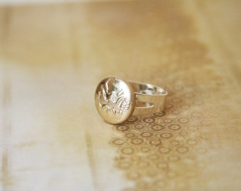 Eagle ring - American Eagle Ring - made with a vintage button embossed with eagle crest