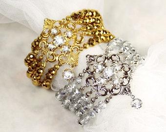 Melita Bridal Bracelet, Wedding Bracelet, Gold Crystal Bracelet Cuff, Bohemian Bracelet, Victorian Bracelet, Bridal Jewelry, Crystal Cuff
