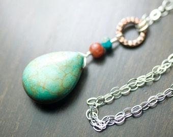 "Magnesite Turquoise Red River Jasper Copper Sterling Silver Necklace - Gemstone, Pendant, Blue Green, December - ""Red River Sky"""
