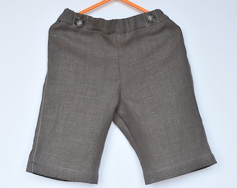 Baby / Toddler Boys natural Linen bermuda Shorts, calf length pants, Dark Grey Bluish, faux pocket, summer,12-18-24 months 2T 3T 4T 5 6