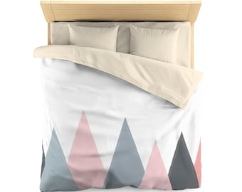 Scandiavian design duvet cover, bedding, twin size or queen size, gray, pink