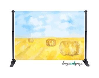 Watercolor Hay Bales - Photography Backdrop