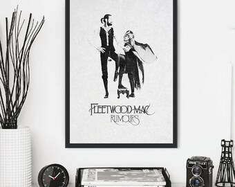 Fleetwood Mac - music print, poster, picture. Artwork inspired by the original  'Rumours' album cover. Vintage style wall art: A3, A4 or A5