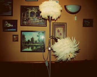 Feather lamp shade etsy aloadofball Choice Image