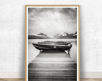 Large Nautical Boat Photography, Montana, Nature, Scenic, Waterscape, Oversize Vertical Wall Art, Boat Photography, Fishing Boats, Nautical