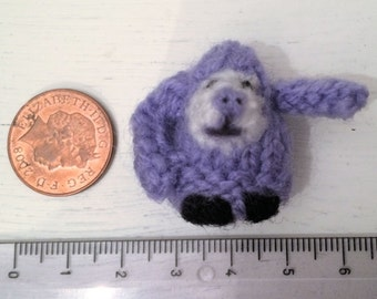micro purple knitted little monkey monster Miniature Tiny Hand knitted Sewn and Embellished