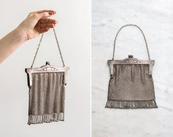 antique german silver purse | 1900s 1910s chain mail purse | antique handbag | art nouveau silver mesh purse
