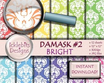 """Bright Damask Digital Paper Pack, """"DAMASK #2"""" For Scrapbooking, pastel paper, damask digital paper, bright digital paper, Design #82"""