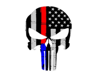 Thin Blue Line- Thin Red Line Punisher Decal, Sticker