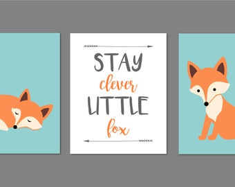 Fox Nursery Decor, Fox Nursery Art, Woodland Nursery, Stay Clever Little Fox, Fox Printable, Fox Nursery Wall Art, Baby Boy Nursery Art