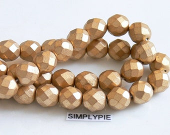 GOLD SATIN .. Czech Beads, Fire Polished 8mm 20 Faceted Round Glass
