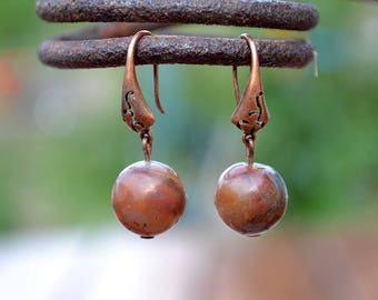 Brown amazonite copper earrings, Amazonite red copper earrings, Brown amazonite earrings, Copper earrings amazonite, Brown drop earrings.