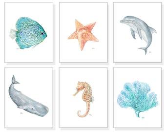 Ocean Nursery Prints Sea Nursery Art Beach Nursery Nautical Nursery Tropical Coastal Whale Nursery Ocean Animal Nursery Sea Life Nursery 6