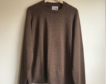 1970s Vintage Brown Knit Crew Neck Sweater Men's Size Large