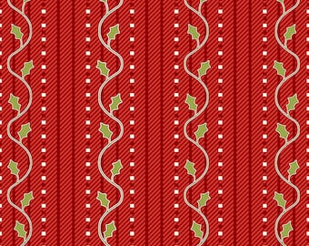 Simply Christmas Red Holly Stripe by Mary Jane Carey of Holly Hill Quilt Design for Henry Glass
