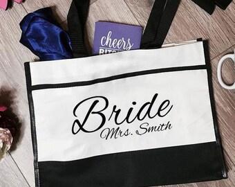 Bride Mrs. Smith Trim Tote Bag | Bride Tote Bag | Bride Totes | Bridal Tote Bag | Bridal Totes | Bachelorette Totes | Bachelorette Tote Bags