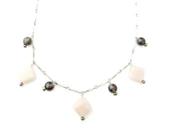 Vintage Sterling Silver Diamond Shaped Segment Chain Necklace with Sunstone and Rose Quartz Beads- 18 Inch Length