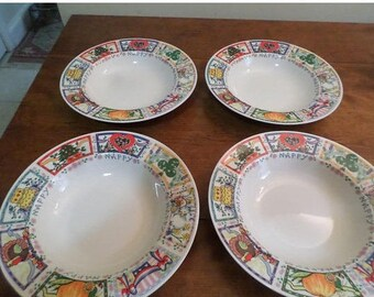 REDUCED Vintage Tabletops Unlimited Dinnerware Happy Everything Pattern Hard to Find Set of 4 Soup Bowls