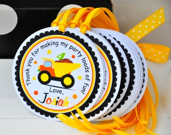 Dump Truck Gift Tags,Katheine Dump Truck Tags, Personalized Favor Tags - set of 12