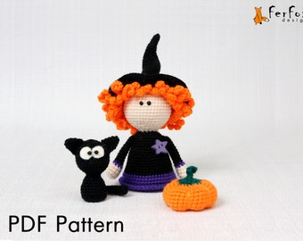 Halloween amigurumi pattern Halloween crochet pattern Crochet DIY tutorial PDF pattern Crochet Witch doll pattern DIY Halloween decor