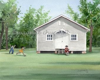 Historic Ohio School, Parkin Archeological State Park, Parkin Arkansas. Giclee Peint of an Original Watercolor by Suzanne Churchill