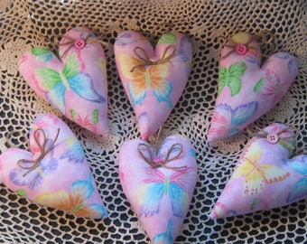 6 Pink Butterfly hearts - Ornaments - Valentine Decor - Wedding Shower Favors -  Bowl Fillers - Wreath or Garland Making - Cottage Decor