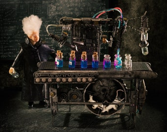 RESERVED Steampunk Potions Machine Dollhouse Miniature 1:12 Scale  Metal Lab Potion 'Rat powered' with Eccentric  figure