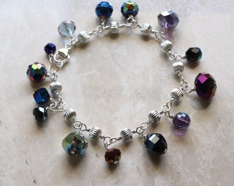 Maroon - Purple - Dark Blue - Dark Green - Faceted Crystal - Luster - Sterling Silver - Wire Wrapped - Charm Bracelet - Cha Cha Bracelet