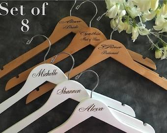 Set of 8 Laser Engraved Hangers/Laser Engraved Bridal Hanger/ Bride /Wedding Hanger/ bridal party gift/Engraved hanger/ wedding hanger