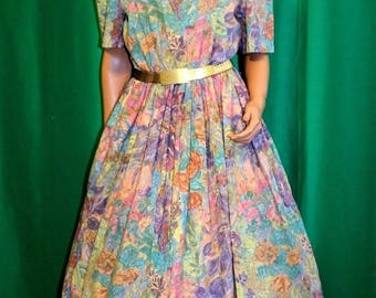Vintage 80's 50's Rockabilly Swing Cotton Floral Print Dress & Cinch Belt Sz 14