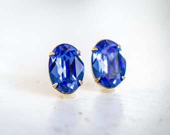 Blue Sapphire Stud Earrings, Vintage Style, Shabby Chic, Estate Style, Sparkly Rhinestone, Swarovski Crystal, Bridal Party Jewelry