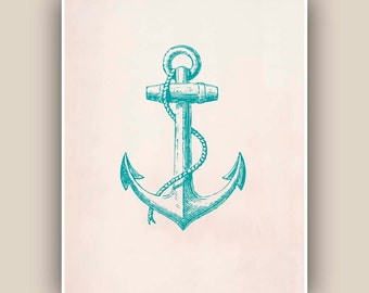 Green Turquoise Anchor Print,  Vintage image  print, Nautical art,  Mixed Media Collage  Print, Coastal Living, beach cottage decor
