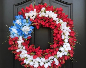Patriotic Wreath, American Flag Decor, Red Tulip Wreaths, Summer Wreaths, July 4th Decor, Red, White Blue Wreath, Holiday Wreath