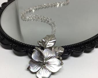Blest Jewellery-Black Mother of Pearl Flower Pendant- 925 Sterling Silver