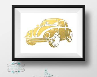 Classic Volkswagen Beatle Gold Foil 5 x 7 Print - Punch Buggy