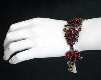 Web of Love - Antique Copper Plated Made with Red Siam Swarovski Crystals Web Cluster Bracelet 6507B
