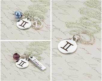 Personalized Zodiac Jewelry - Gemini Sign Necklace - May June Birthday Gift - Engraved Astrology Charm Necklace - Gemini Jewelry - 94