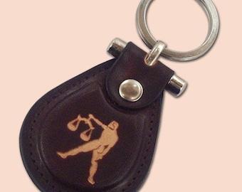 Libra zodiac leather metal T keychain - FREE Shipping Worldwide