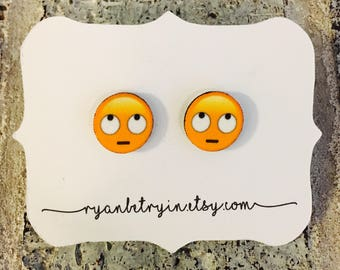 Eye Roll Emoji Earrings - Emoji Stud Earrings - Emoji Earrings - Hipster Earrings - Snapchat - Emoji Jewelry - Smiley Jewelry - Funny Gifts