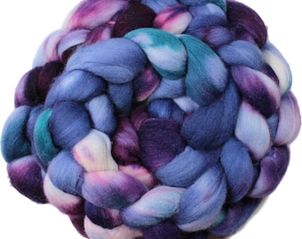 Milky way - hand-dyed Polwarth wool and silk (4 oz.) combed top roving