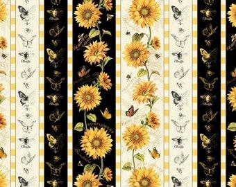 Wilmington Prints Follow the Sun Sunflower Bee Butterfly Black Cream Stripe Fabric 1409-86428 BTY