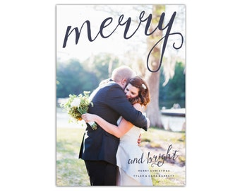 Merry & Bright Photo Christmas Card // Christmas Cards // 5x7 Printable Photo Holiday Card // The Barrett