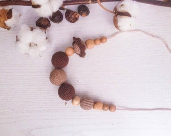 Nursing  necklace Brown Crocheted teething necklace Babywearing necklace Breastfeeding necklace Juniper  Wooden beaded Mother's day sale