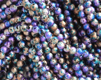 """Artsy Colorful Drawbench Glass beads 6mm approx 33"""" strand"""