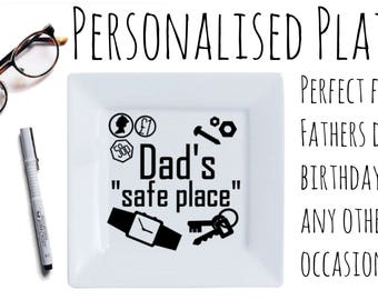 """Personalised Trinket Plate, Fathers day gift, for keeping things in a """"safe place"""" gifts for dad's for him"""
