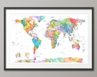 Watercolour Political Map of the World Map, Art Print, 24x36 inch (472)