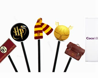 Coco&Bo - Magical Wizarding Party Cupcake Toppers - Harry Potter Inspired Cake Decorations and Table Accessories